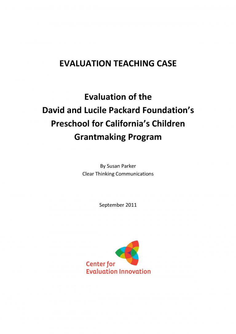 Teaching Case - Evaluation of Preschool for California's Children Grantmaking Program