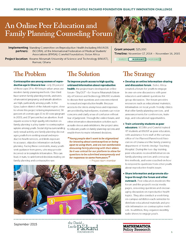 An Online Peer Education and Family Planning Counseling Forum - The